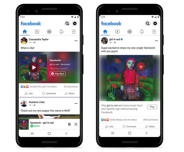 Facebook Introduces Spotify Miniplayer Within Its App