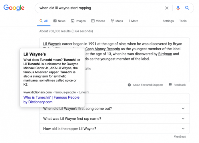contextual links in featured snippets